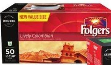 Folgers Lively Colombian Coffee K-cup Pods - 50-ct