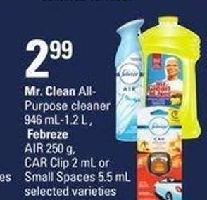 Mr. Clean All- Purpose Cleaner 946 Ml-1.2 L  - Febreze Air 250 G - Car Clip 2 Ml Or Small Spaces - 5.5 Ml