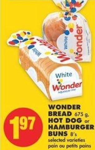 Wonder Bread - 675 G - Hot Dog Or Hamburger Buns - 8's