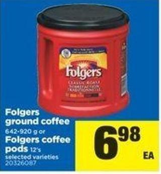 Folgers Ground Coffee - 642-920 G Or Folgers Coffee PODS - 12's