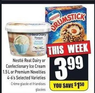 Nestlé Real Dairy or Confectionary Ice Cream 1.5 L or Premium Novelties 4-6's Selected Varieties