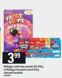 Kellogg's Retail Size Cereals - 312-510 g Or Kellogg's Fun Pack Cereal - 210 g