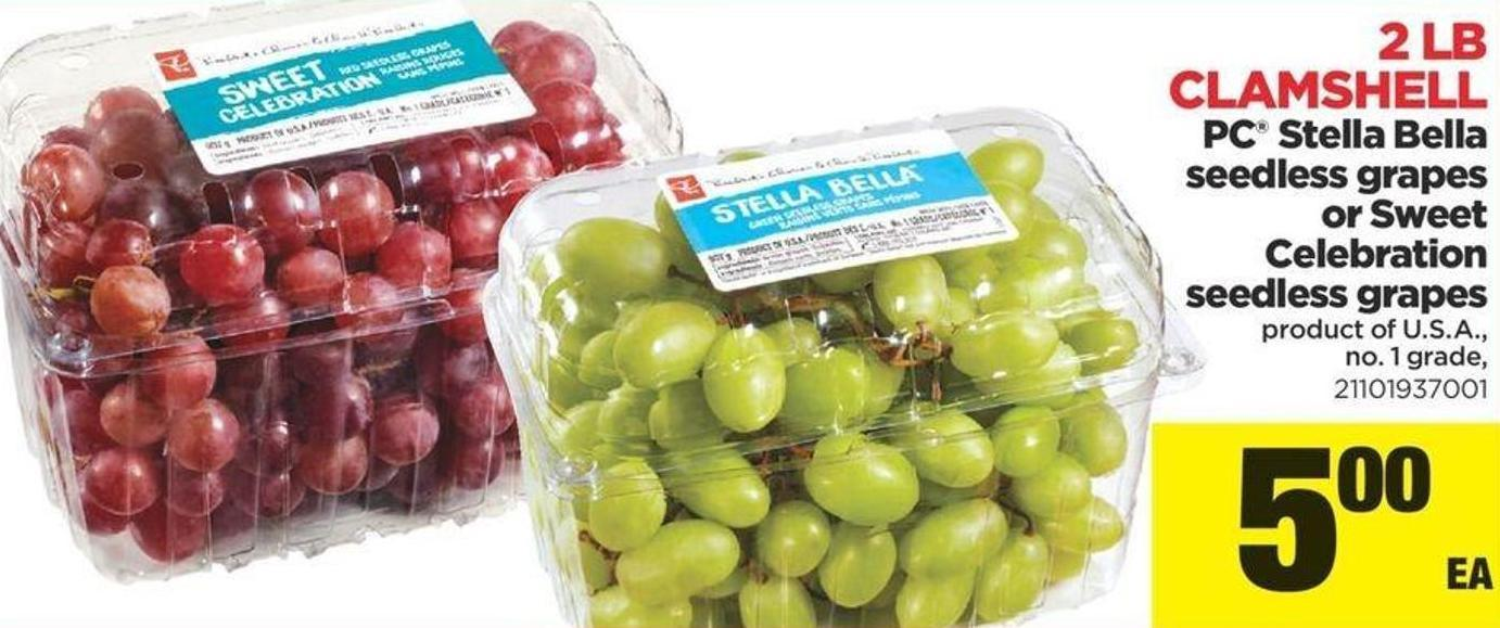 PC Stella Bella Seedless Grapes Or Sweet Celebration Seedless Grapes - 2 Lb Clamshell