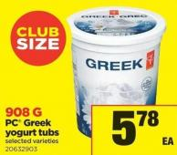 PC Greek Yogurt Tubs - 908 g