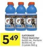 Gatorade Thirst Quencher 6x591 mL - Perform 8x355 mL or Crystals 560 g