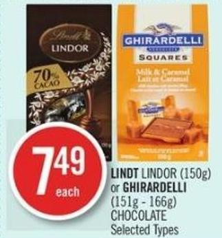 Lindt Lindor (150g) or Ghirardelli (151g - 166g) Chocolate