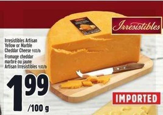 Irresistibles Artisan Yellow Or Marble Cheddar Cheese