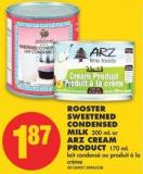 Rooster Sweetened Condensed Milk 300 mL or Arz Cream Product 170 mL