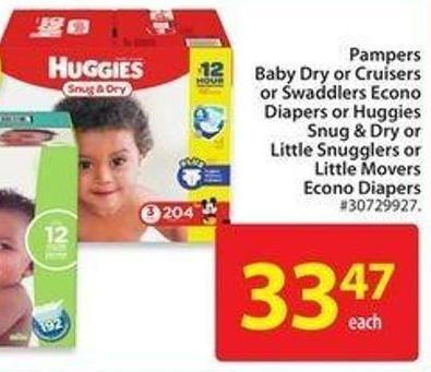 Huggies Snug & Dry or Little Snugglers or Little Movers Econo Diapers