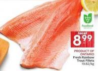 Product Of Ontario Fresh Rainbow Trout Fillets 19.82/kg