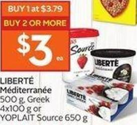 Liberté Méditerranée 500 g - Greek 4x100 g or Yoplait Source 650 g - 40 Air Miles Bonus Miles