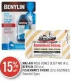 Max-air Nose Cones Sleep Aid (4's) - Benylin (20's) or Fisherman's Friend (22' S) Lozenges