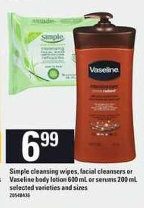 Simple Cleansing Wipes - Facial Cleansers Or Vaseline Body Lotion - 600 Ml Or Serums - 200 Ml