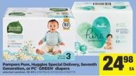 Pampers Pure - Huggies Special Delivery - Seventh Generation - Or PC Green Diapers - 38-93's