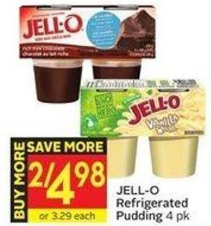 Jell-o Refrigerated Pudding 4 Pk