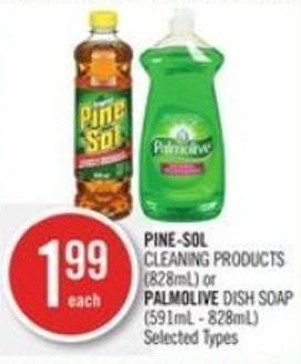 Pine-sol  Cleaning Products (828ml) or Palmolive Dish Soap (591ml - 828ml)