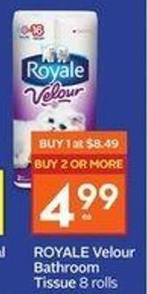 Royale Velour Bathroom Tissue 8 Rolls
