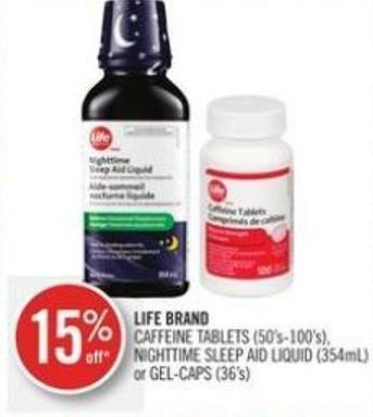 Life Brand Caffeine Tablets (50's-100's) - Nighttime Sleep Aid Liquid (354ml) or Gel-caps (36's)