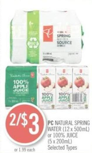 PC Natural Spring Water (12 X 500ml) or 100% Juice (5 X 200ml)