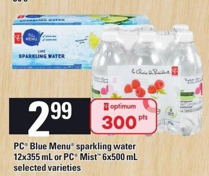 PC Blue Menu Sparkling Water 12x355 Ml Or PC Mist 6x500 Ml