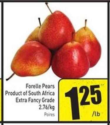 Forelle Pears Product of South Africa Extra Fancy Grade 2.76/kg