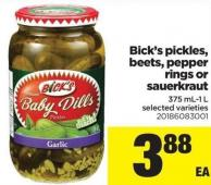 Bick's Pickles - Beets - Pepper Rings Or Sauerkraut - 375 Ml-1 L