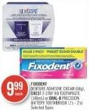 Fixodent Denture Adhesive Cream (68g) - Crest 2-step Hd Toothpaste (148ml) or Oral-b Precision Battery Toothbrush (1's - 2's)