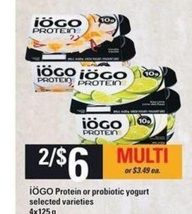 Iögo Protein Or Probiotic Yogurt - 4x125 g
