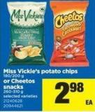 Miss Vickie's Potato Chips - 180/200 G Or Cheetos Snacks - 260-310 G