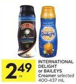 International Delight or Baileys Creamer Selected 400-437 mL