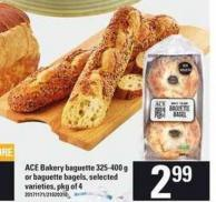 Ace Bakery Baguette - 325-400 g Or Baguette Bagels - Pkg of 4
