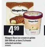 Häagen-dazs Ice Cream Or Gelato 264-500 Ml Or Bars 3's Frozen