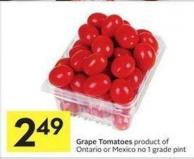 Grape Tomatoes Product of Ontario or Mexico No 1 Grade Pint