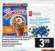 PC Frozen Fruit - 400/600 G - Breyers Creamery Style Ice Cream - 1.66 L Or Nestlé Drumstick - 4's
