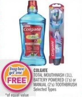 Colgate Total Mouthwash (1l) - Battery Powered (1's) or Manual (2's) Toothbrush