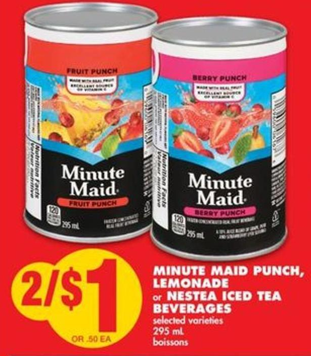 Minute Maid Punch - Lemonade or Nestea Iced Tea Beverages - 295 mL