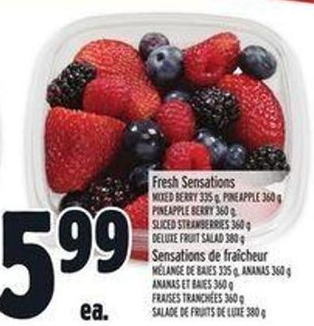 Fresh Sensations Mixed Berry 335 g - Pineapple 360 g - Pineapple Berry 360 g - Sliced Strawberries 360 g - Deluxe Fruit Salad 380 g