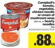 Campbell's Tomato - Vegetable - Chicken Noodle Or Cream Of Mushroom Soup - 284 Ml Or Hearty Noodles - 55 G