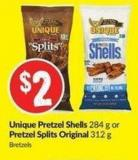 Unique Pretzel Shells 284 g or Pretzel Splits Original 312 g