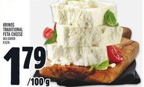 Krinos Traditional Feta Cheese Deli Served