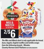 Bread - Buns - Bagels - English Muffins And Tortilla Wraps From The Following Brands: Wonder - Country Harvest And D'italiano