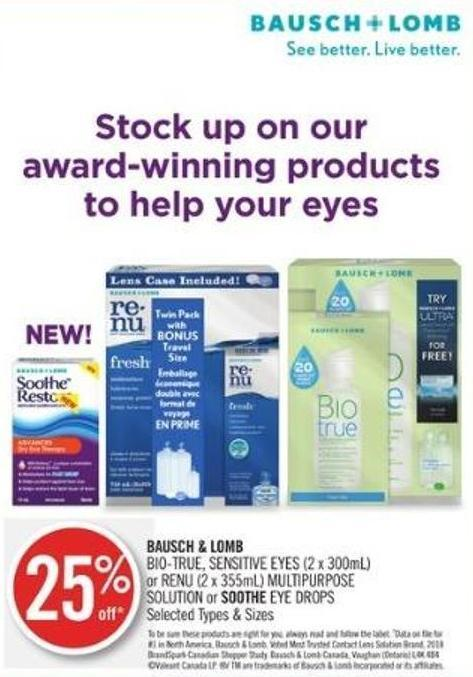 Bausch & Lomb Bio-true - Sensitive Eyes (2 X 300ml) or Renu (2 X 355ml) Multipurpose Solution or Soothe Eye Drops