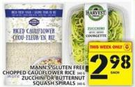 Mann's Gluten Free Chopped Cauliflower Rice Or Zucchini Or Butternut Squash Spirals