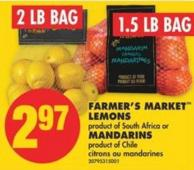 Farmer's Market Lemons - 2 Lb Bag or Mandarins - 1.5 Lb Bag