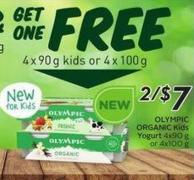 Organic Kids Yogurt 4 X 90 g or 4 X 100 g