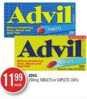 Advil 200mg Tablets or Caplets 100's