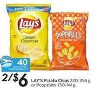 Lay's Potato Chips 220-255 g or Poppables 130-141 g - 40 Air Miles Bonus Miles