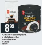 PC Gourmet Roast And Ground Or Whole Bean Coffee - 875/930 G