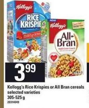 Kellogg's Rice Krispies Or All Bran Cereals - 305-525 g