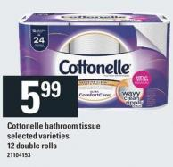 Cottonelle Bathroom Tissue - 12 Double Rolls